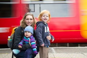 The babies and I with a passing train, London, September 1013